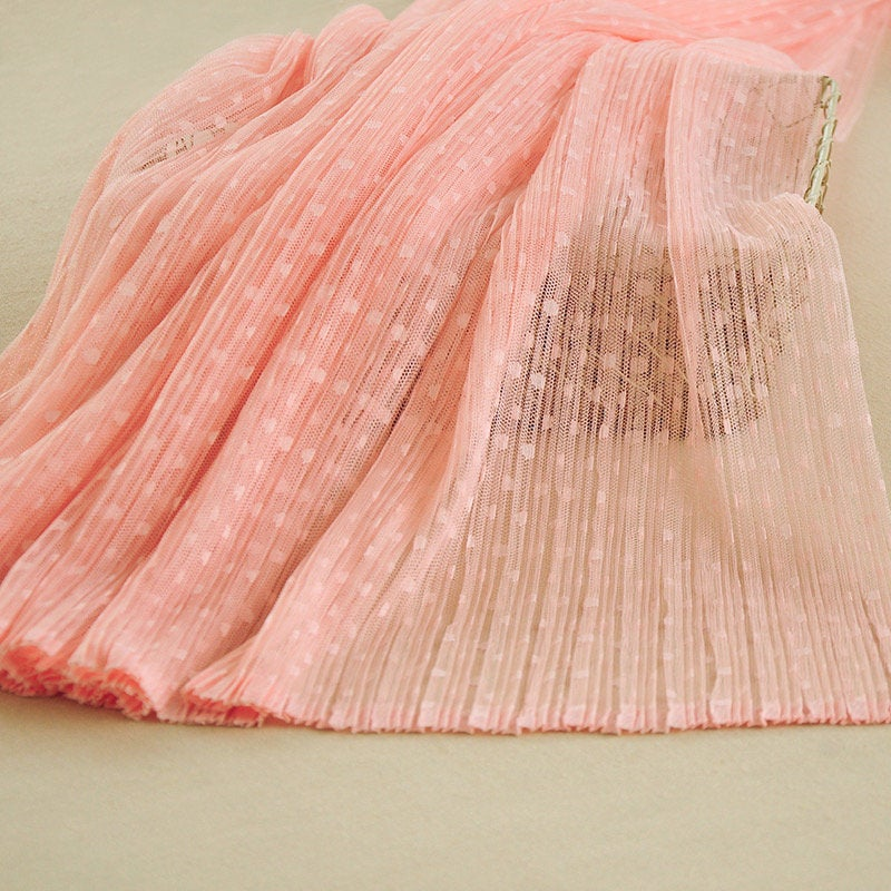 off white pleated tulle Panel fabric with polka dot, tulle mesh Vertical crease, accordion tulle fabric, ruffled tulle mesh - lace era