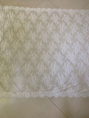 3 Yards chantilly lace fabric with fringe selvedge