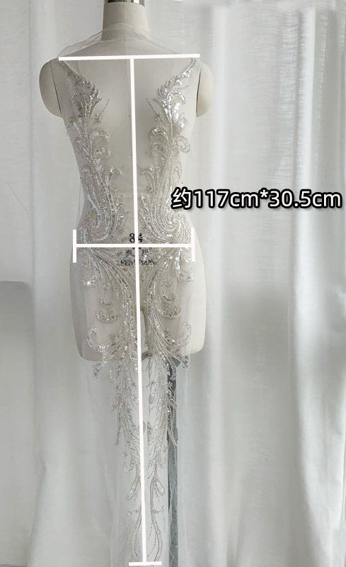 Large French Lace Applique for couture, heavy embroidered lace bodice with beads and sequins