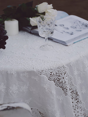 Cotton eyelet lace fabric with 3d flowers and strips