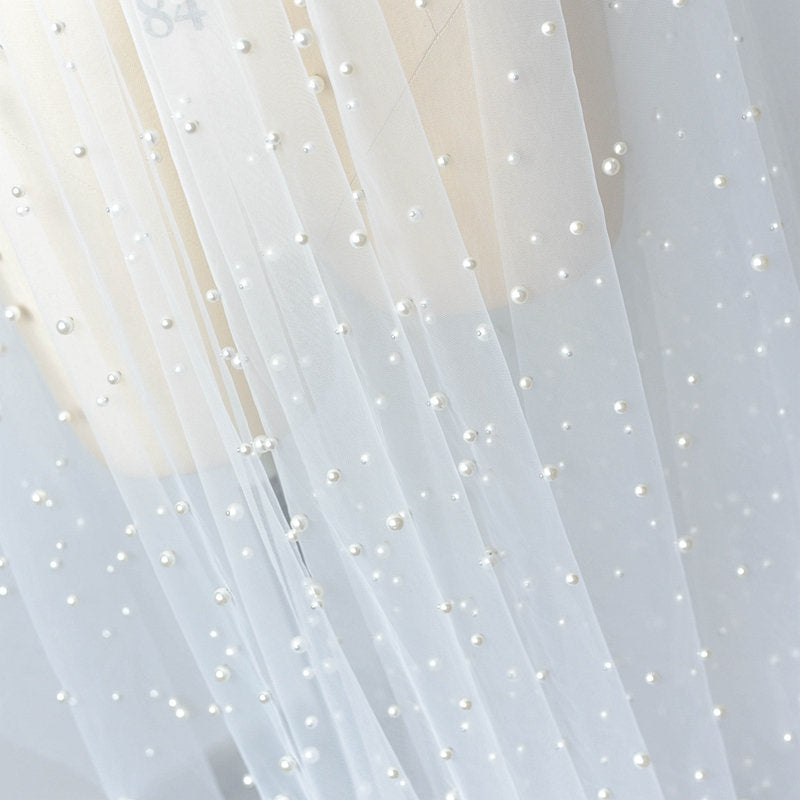 pearl bead tulle fabric, off white tulle lace fabric with pearls for bridal veils