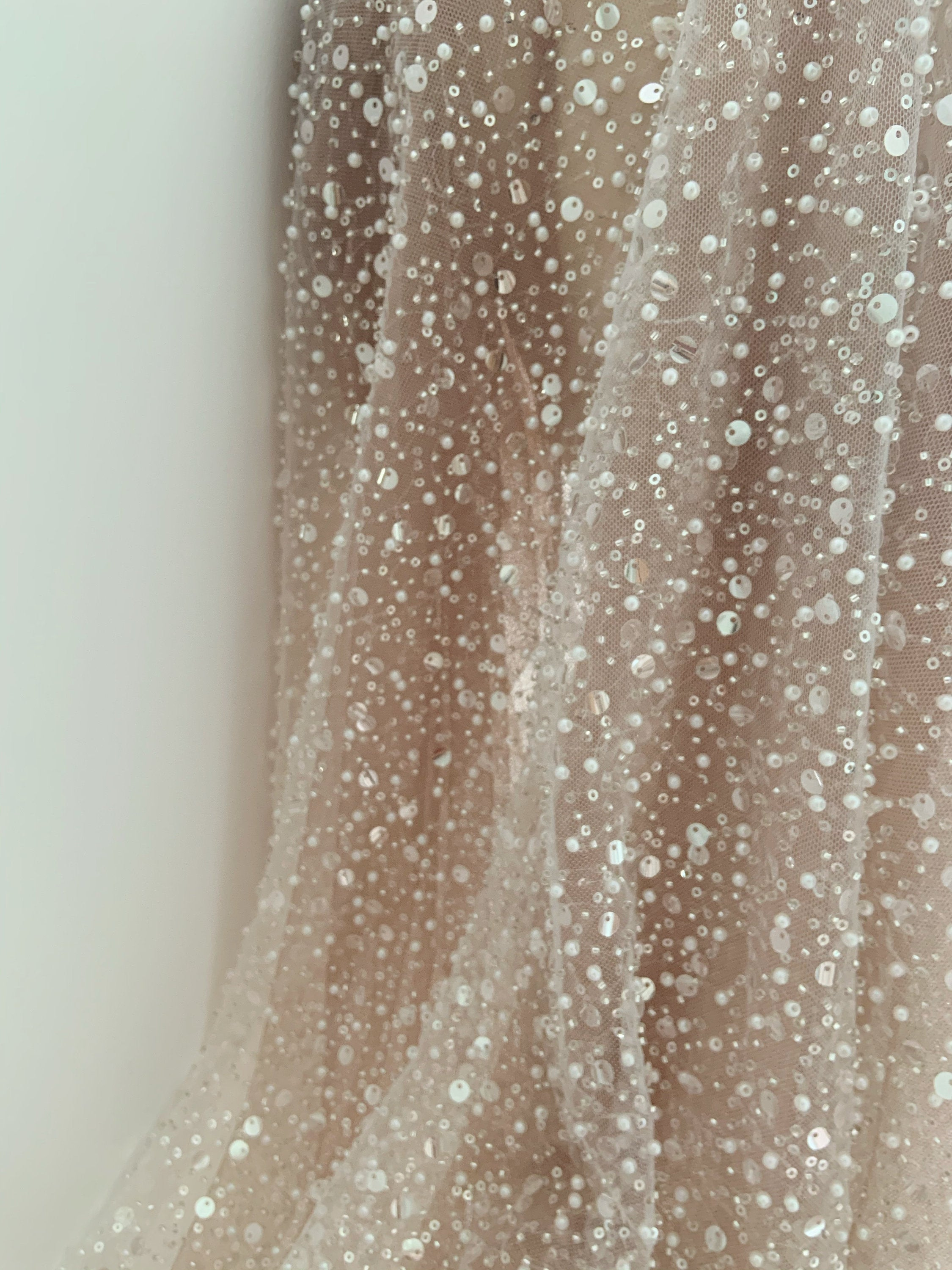 Heavy bead tulle lace fabric with sequins for bridal dress