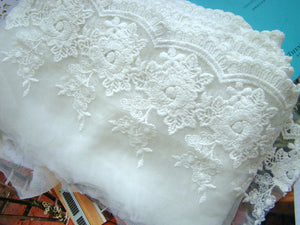 White embroidered lace trim, lace fabric, retro white lace fabric, cotton trim lace