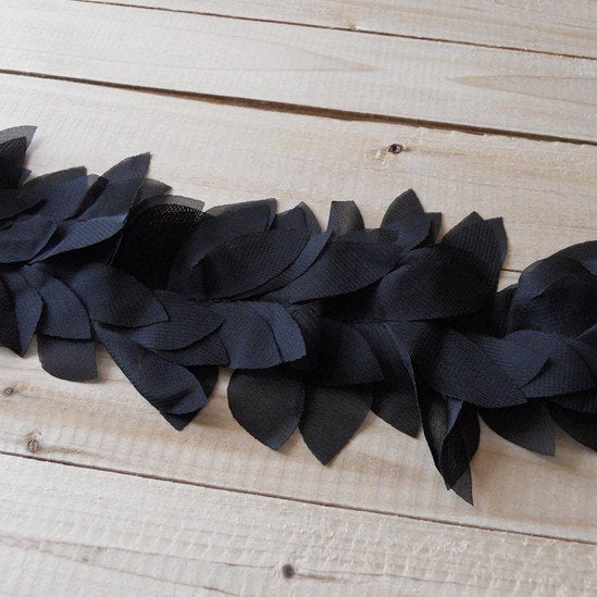 Black Chiffon Leaves Trim 3D Florals Lace Fabrics Wedding Decors Accessories Holiday Costum Party Decors Supplies