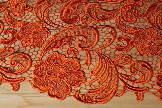 orange lace fabric, venise lace, crocheted lace fabric, retro floral lace, bridal lace, wedding lace fabric
