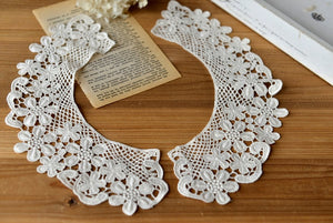 retro Cotton Lace Collar  applique, fake collar, vintage lace collar applique - lace era