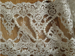 Silver Embroidery Lace Trim Luxury Vintage Mesh Lace Fabrics for Bridal Wedding Gown Supplies