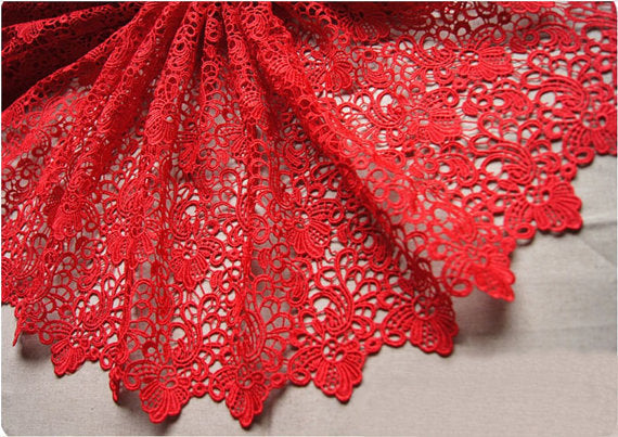 Red guipure lace fabric, chic lace fabric, retro crocheted lace fabric, retro floral lace fabric