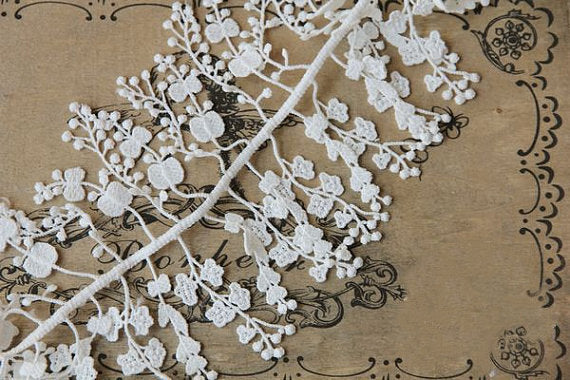 white lace trim, bridal lace trim, antique lace trim, floral branch lace, jewelry lace, Lace necklace, on sale