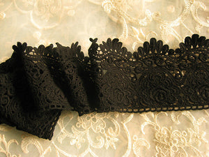 Black Cotton Lace Trim, cotton guipure lace trimming, black lace trim with scallops one yard - lace era