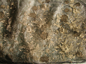 Black Embroidered Lace Gauze Fabric, Retro Gold Florals lace fabric, Baroque lace fabric