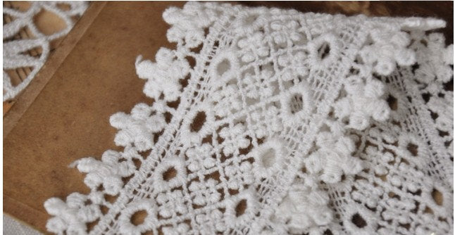 Off White Antique Cotton Crocheted Lace Trim 2 yards CMSR27B