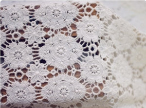 Ivory Cotton Lace Fabric, vintage lace fabric, bridal lace fabric, wedding fabric, antique lace