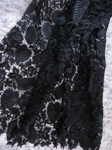 Black Guipure Lace Fabric with Retro Roses Leaves Floral, venise lace fabric, venice lace fabric, black lace fabric by the yard