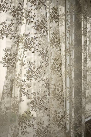 Ivory Lace Fabric, Embroidered tulle Lace fabric with retro florals, Chic bridal lace fabric, mesh lace fabric, tulle lace fabric