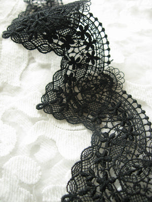 Black Lace Trim, antique lace trim, venice lace, guipure lace trim, lace trimming by the yard