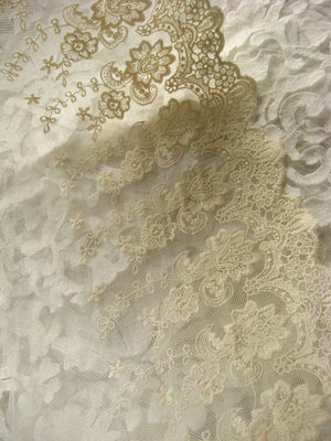 Ivory lace trim embroiderd lace with retro flowers, vintage trim lace, lace trim, cotton tulle lace mesh lace cream lace for craft couture
