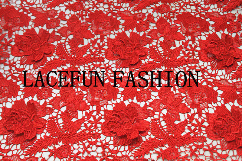 Red lace fabric, crocheted lace fabric, hollowed out florals lace, embroidered Poenies lace fabric, venice lace fabric