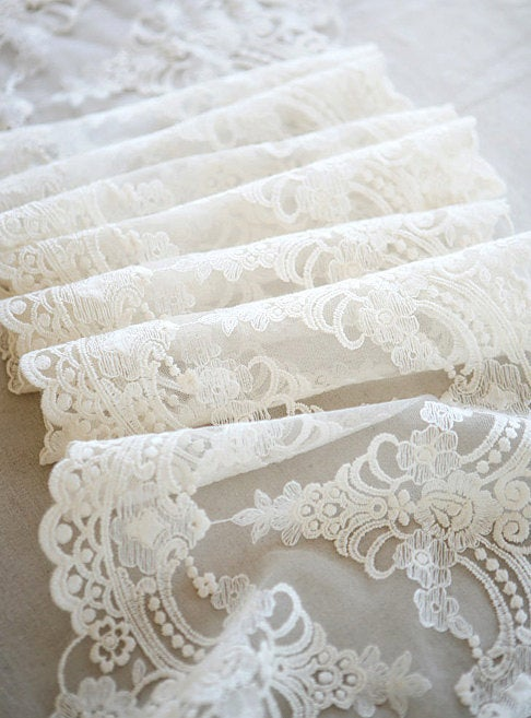 off white lace trim, cotton embroidered tulle lace trim, antique style lace, embroidered gauze lace trim with double motif