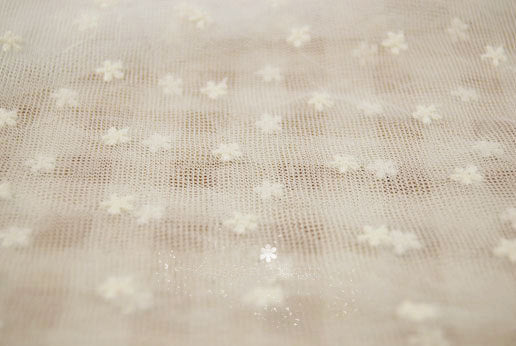 off white tulle lace fabric, embroidered daisy lace fabric, vintage gauze lace fabric, polka dots lace fabric