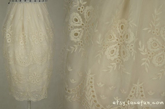 ivory lace fabric, ecru embroidered tulle lace fabric, retro lace fabric, embroidered lace gauze