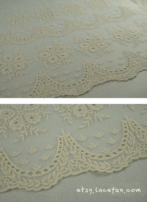 cream lace fabric, cotton embroidered tulle lace fabric by the yard
