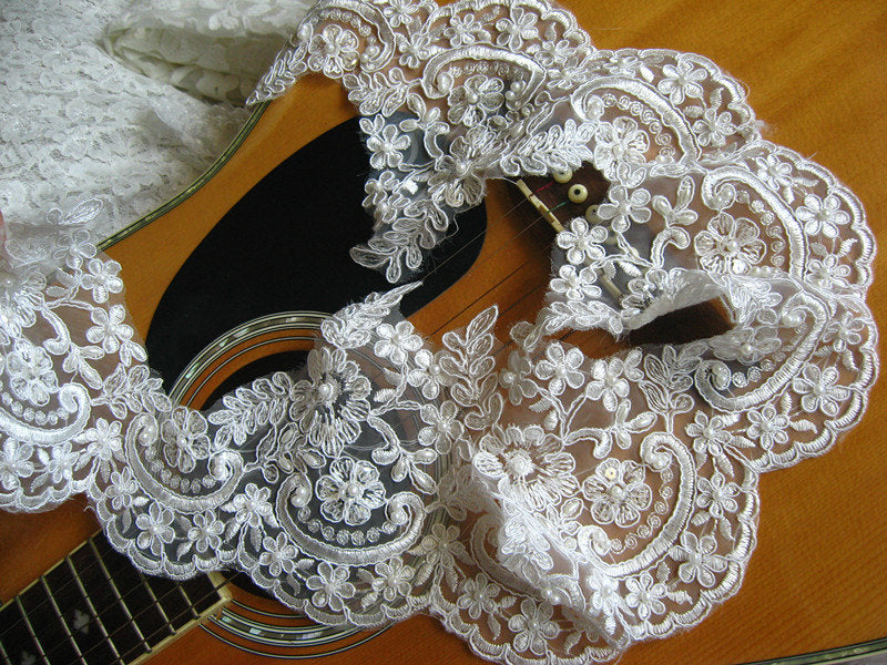 pearl beaded lace trim, bridal lace trim, ivory alencon lace trim, scollaped lace trim, sequined wedding trim lace, vintage lace trim, sale