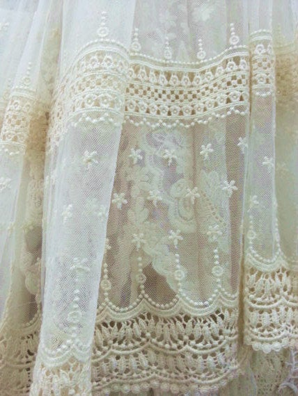 ivory cream Embroidered tulle lace fabric by the yard - lace era