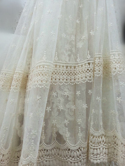 ivory Lace fabric, Embroidered tulle lace fabric, tulle lace fabric, cotton embroidered lace fabric, home decors