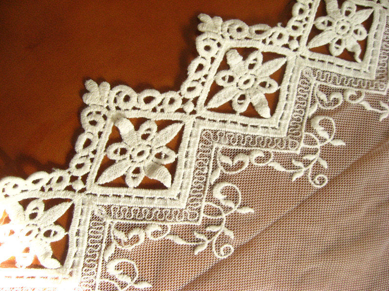 ivory embroidered lace trim, scalloped lace fabric, retro tulle lace trim, mesh lace trim