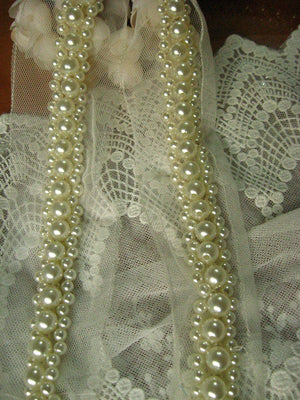 Pearl beaded lace trim, bridal sash, Bridal Belt, beaded jewelry Trim, Pearl Beading trim, beading trim