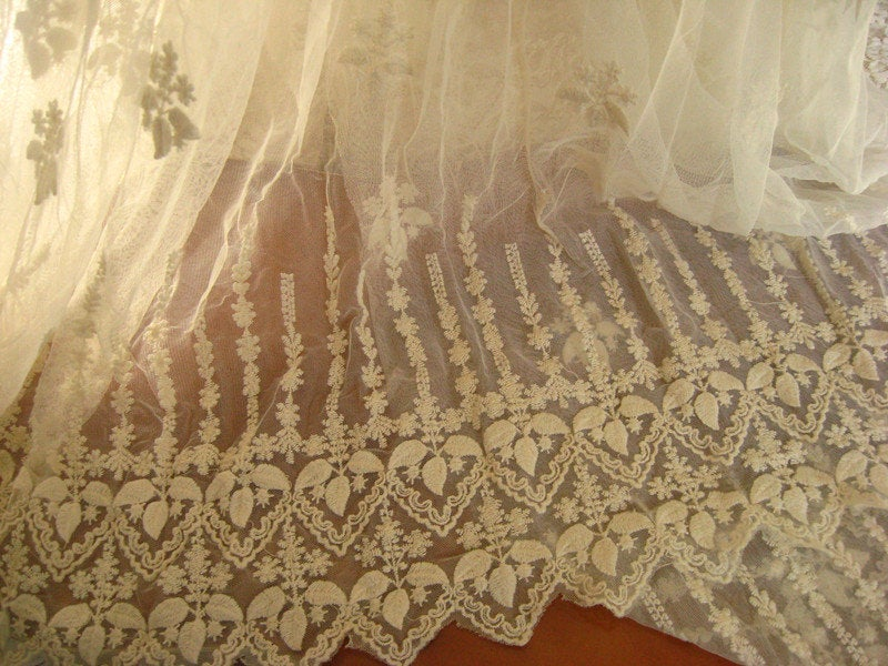 ivory  Lace fabric, Embroidered tulle lace fabric, vintage gauze lace fabric, antique bridal lace, curtain lace fabric