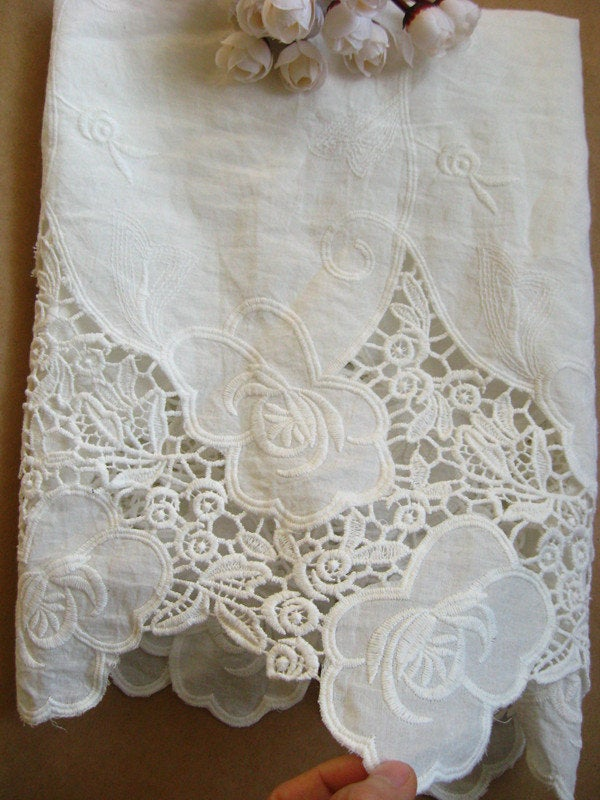 off white cotton lace fabric, embroidered cotton lace trim, natural cotton lace fabric, eyelet lace fabric