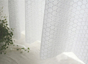 white lace fabric, cotton lace fabric, embroidered cotton lace cloth, eyelet lace fabric, round circles, by the yard