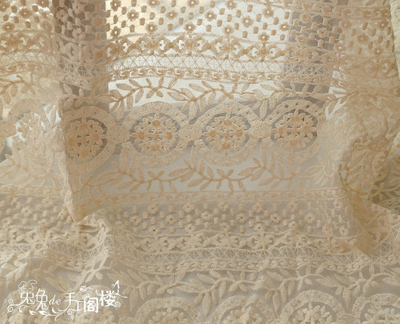 cream Embroidered Organza Lace Fabric, retro floral lace, cotton embroidered lace fabric, lace curtain fabric by the yard