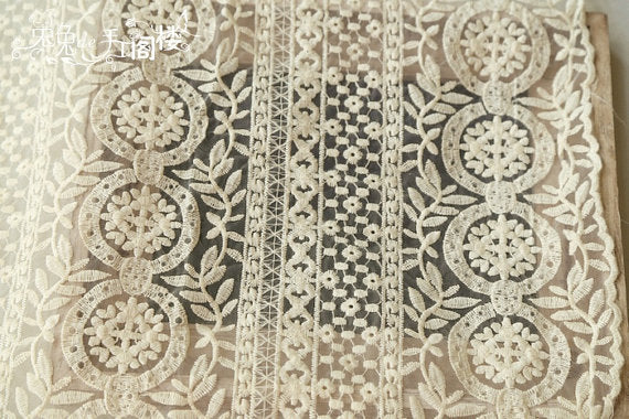 off white Embroidered Organza Lace Fabric, cotton embroidered lace fabric, lace curtain fabric by the yard - lace era