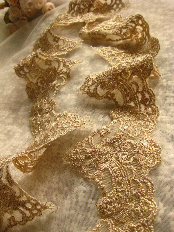 gold lace, gold embroidered lace trim, gold scalloped lace, vintage lace, antique lace, bridal lace