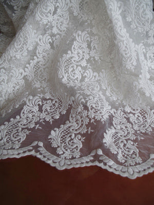off white Organza Lace Fabric, embroidered lace fabric, bridal lace fabric, embroidered organza lace fabric by the yard
