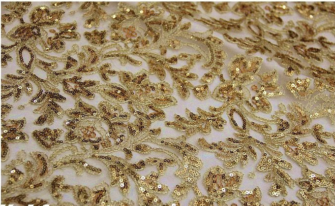 gold lace fabric, gold sequined lace fabric, retro floral lace fabric, costume lace fabric, bridal lace fabric, prom dress lace
