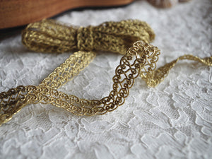 Gold Lace Trim, Gold Cord Crocheted Lace trim, gold lace tape 2 yards