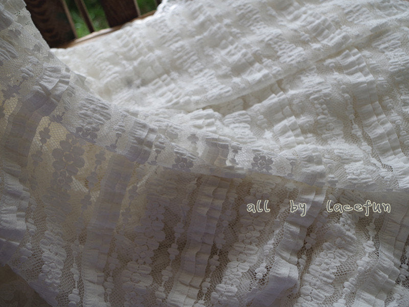 ivory Lace Fabric with cake layer design, bridal lace fabric