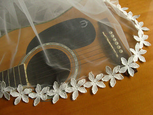 off white lace trim with daisy flowers, DG016B
