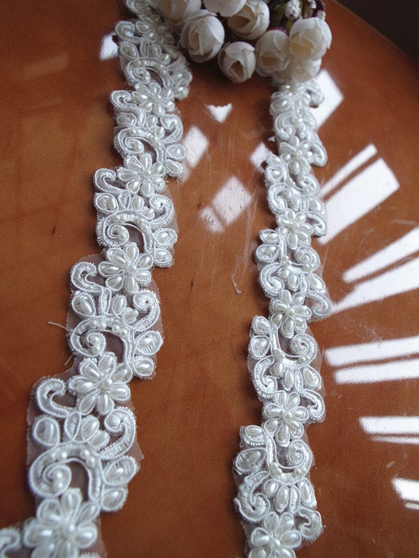 pearl beaded lace trim, sequined bridal trim lace, ivory cord lace trim