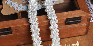 pearl beaded  trim, bridal sash, Bridal Belt, beaded jewelry Trim, Pearl Beading trim
