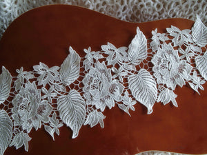 Lace Trim with floral and leaves, guipure lace trim with flowers
