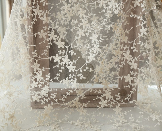 ivory Embroidered tulle Lace Fabric with small retro flowers - lace era