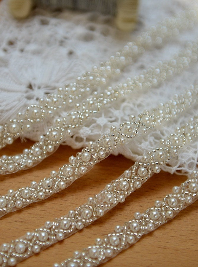 pearl beaded trim,  beaded jewelry Trim, clear beads trim - lace era