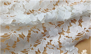 off white lace fabric, guipure lace fabric, crocheted lace fabric, bridal lace fabric, 3D floral lace, bridal venise lace fabric