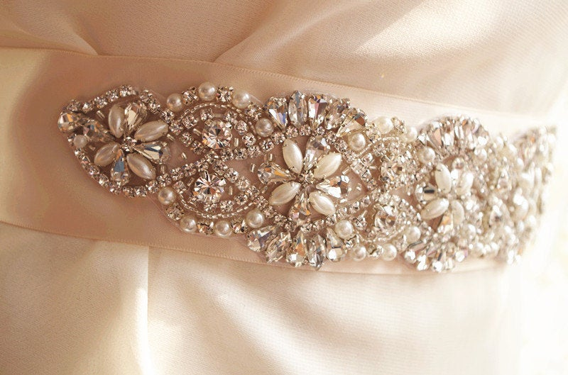 pearl and crystal bead Applique, bridal belt, Bridal sash Applique, rhinestone bead applique for wedding sash, zp68
