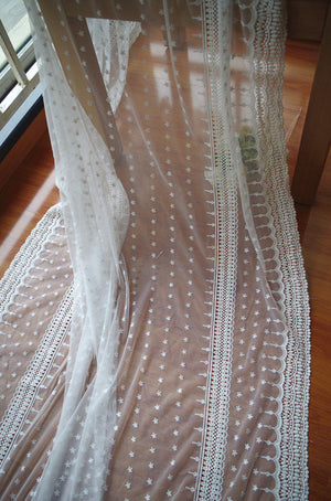 off white Lace fabric, Embroidered tulle lace fabric, vintage lace fabric, bridal dress fabric, tulle lace fabric on sale